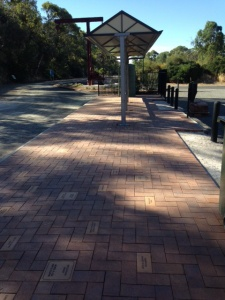 The Commemorative Pavers under the Sign Board at the Lennon Street Carpark